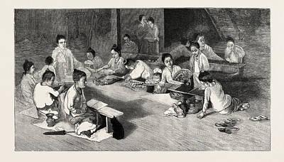 Buddhist Drawing - Buddhist Girls School In Rangoon by English School