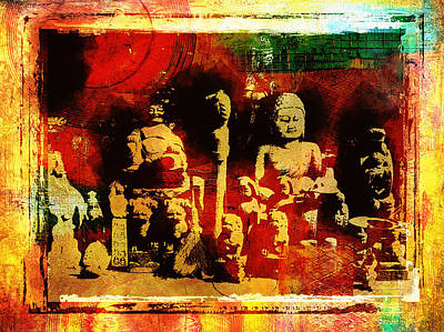 Impressionist Mixed Media - Buddhist In Market Place by Page One Tang