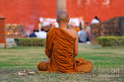 Devi Photograph - Buddhist Monk At Lumbini In Nepal by Robert Preston