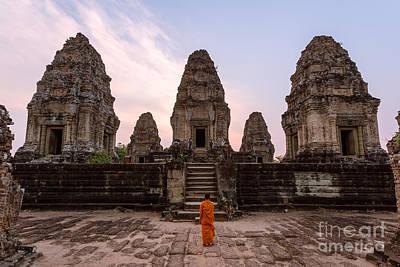 Angkor Photograph - Buddhist Monk Looking At Temple - Angkor Wat - Cambodia by Matteo Colombo