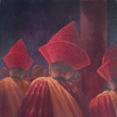 Bhutan Photograph - Buddhist Monks, Bhutan, 2012 Acrylic On Canvas by Lincoln Seligman