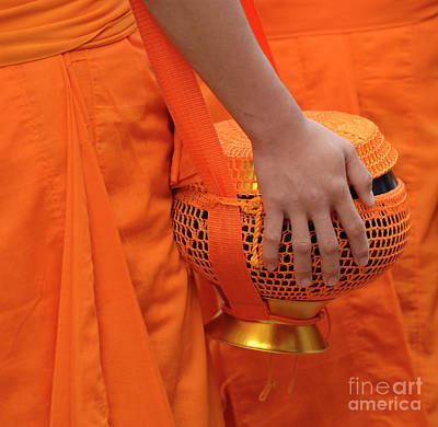Buddhist Monks Hand Print by Bob Christopher