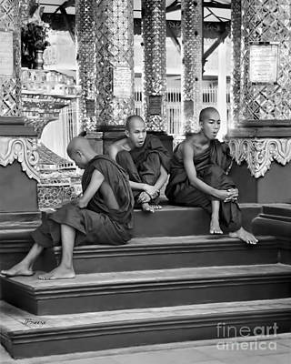 Sangha Photograph - Buddhist Monks In Burma by Jennie Breeze