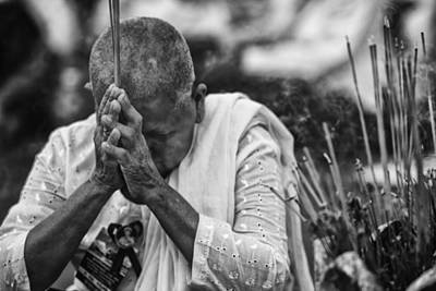 Street Scene Photograph - Buddhist Nun Prayers by David Longstreath