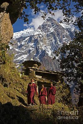 Photograph - Buddhist Nuns And Himalayas - Nupri Nepal by Craig Lovell