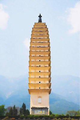 Characteristics Painting - Buddhist Pagodas In Dali City by Lanjee Chee