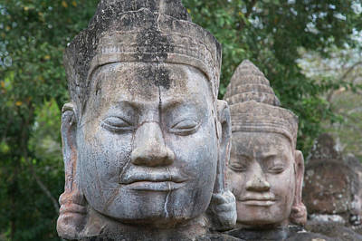 Angkor Thom Photograph - Buddhist Statues At The South Gate by Keren Su