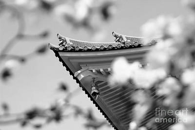 Photograph - Buddhist Temple In Black And White - Roof Tile Details by Beverly Claire Kaiya