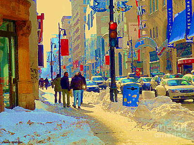 Montreal Cityscenes Painting - Buddies At Bmo Telus Corner Rue St Catherine Across The Metro Boutiques Cafes Winter Scene C Spandau by Carole Spandau
