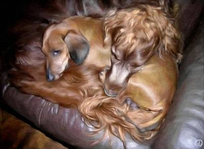 Sleeping Dog Digital Art - Buddies by Gun Legler