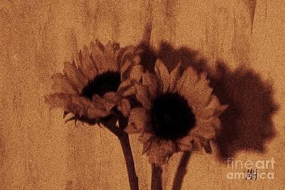 Digital Sunflower Photograph - Buddies by Marsha Heiken