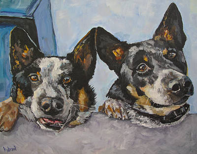 Cattle Dog Painting - Buddy And Bandit by Kellie Straw