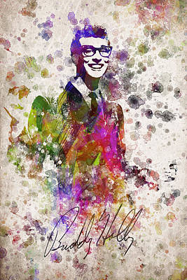 Rock And Roll Royalty-Free and Rights-Managed Images - Buddy Holly in Color by Aged Pixel