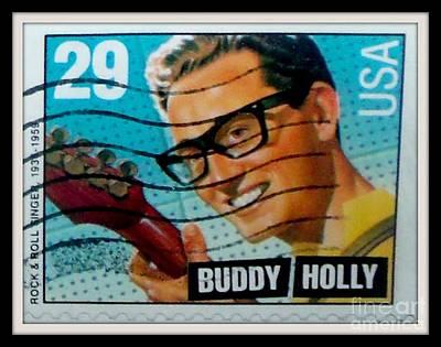 Digital Art - Buddy Holly Postage Stamp Usa by Gail Matthews