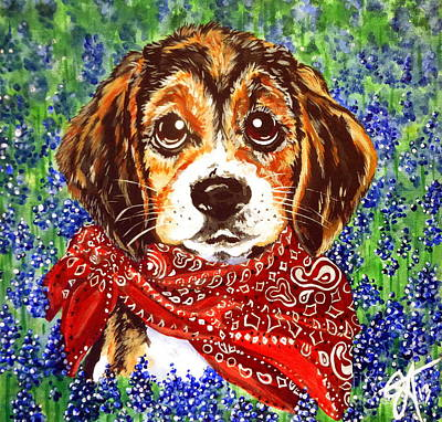 Buddy Dog Beagle Puppy Western Wildflowers Basset Hound  Art Print