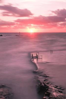 Bude Sea Pool Sunset Art Print by Debra Jayne