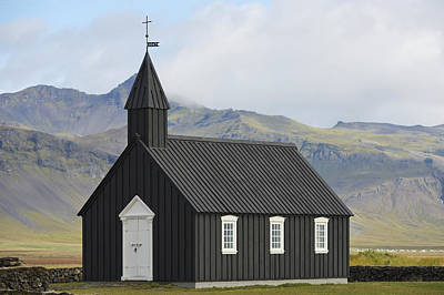 Budir Church Stadarsveit, Snaefellsnes Art Print by Michael Thornton