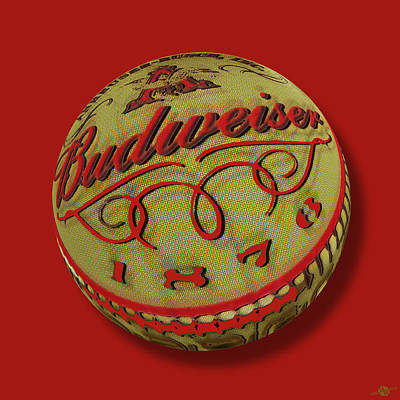 Beer Oil Painting - Budweiser Cap Orb by Tony Rubino
