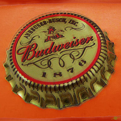 Beer Royalty-Free and Rights-Managed Images - Budweiser Cap by Tony Rubino