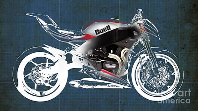 Bicycle Mixed Media - Buell Motorcycle by Pablo Franchi