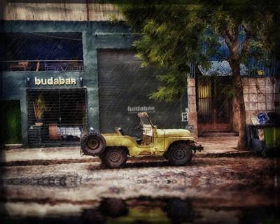 Buenos Aires Jeep Under The Rain Art Print by Diane Dugas
