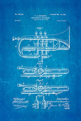 Wind Instrument Photograph - Buescher Epoch Cornet Wind Instrument Patent Art 1901 Blueprint by Ian Monk