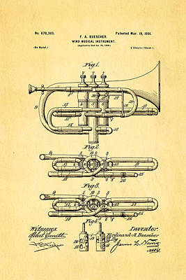 Wind Instrument Photograph - Buescher Epoch Cornet Wind Instrument Patent Art 1901 by Ian Monk