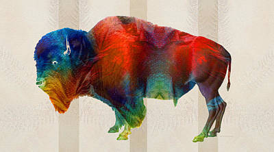 Nfl Painting - Buffalo Animal Print - Wild Bill - By Sharon Cummings by Sharon Cummings