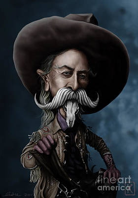 Caricature Portraits Drawing - Buffalo Bill by Andre Koekemoer