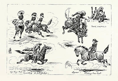 Buffalo Bill At Earls Court Sketches In The Wild West Arena Art Print by English School
