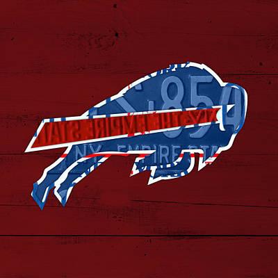 Buffalo Mixed Media - Buffalo Bills Football Team Retro Logo New York License Plate Art by Design Turnpike