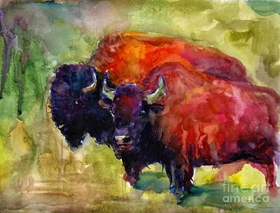 Bison Drawing - Buffalo Bisons Painting by Svetlana Novikova