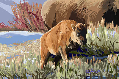 Wall Art - Painting - Buffalo Calf by Pam Little