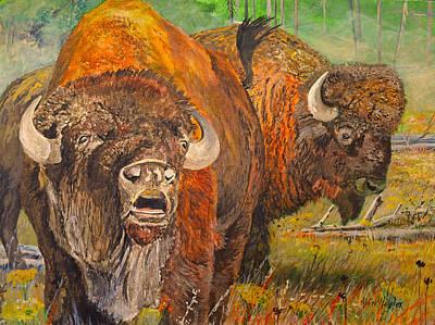 Animal Behavior Painting - Buffalo Calling by Alvin Hepler