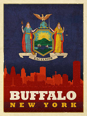New York Skyline Mixed Media - Buffalo City Skyline Flag Of New York State Art Poster Series 003 by Design Turnpike