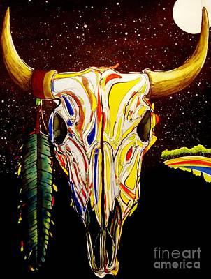 Buffalo Skull Painting - Buffalo Dreams by Kyle  Brock