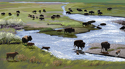 Painting - Buffalo Ford by Pam Little