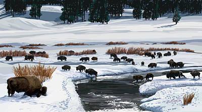 Buffalo Ford Winter Art Print