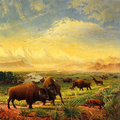 Buffalo Fox Great Plains Western Landscape Oil Painting - Bison - Americana - Square Format Art Print