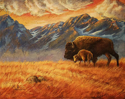 Snow Painting - Buffalo From The Beartooths by Lori Salisbury