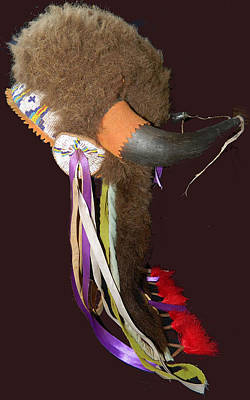 Cheyenne Headdress Mixed Media - Buffalo Fur Horn Headdress by Native Arts Trading