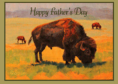 Painting - Buffalo Grazing Card by Ruth Soller