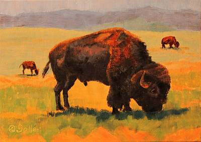 Painting - Buffalo Grazing by Ruth Soller