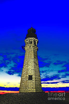 Buffalo Harbor Lighthouse At Sunset Art Print