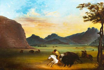 Bison Digital Art - Buffalo Hunt by Alfred Jacob Miller