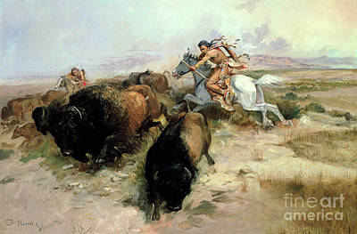Indigenous Painting - Buffalo Hunt by Charles Marion Russell