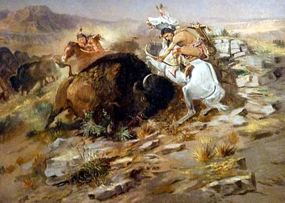 Buffalo Art Digital Art - Buffalo Hunt by Charles Russell