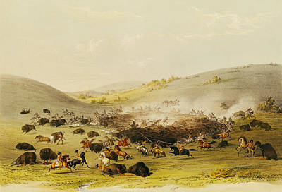 Bison Photograph - Buffalo Hunt, Surround, C.1832 Coloured Engraving by George Catlin