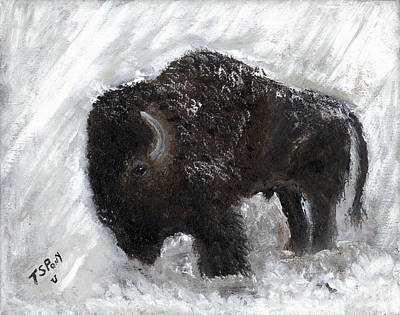 Art Print featuring the painting Buffalo In The Snow by Barbie Batson