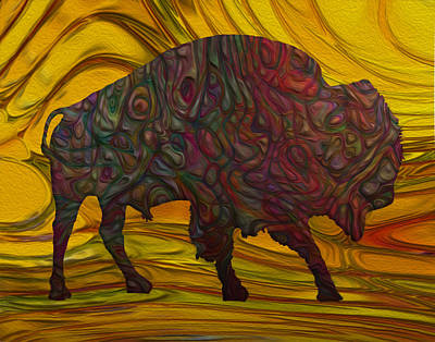 Yak Digital Art - Buffalo by Jack Zulli
